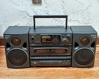 Panasonic RX-DT675 90s GHETTO BLASTER Boom Box Detachable Speakers CD Tape am/fm