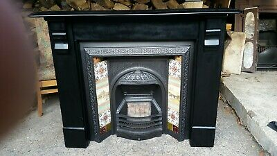 Original Victorian/Edwardian Cast Iron Insert And Slate Fireplace Surround