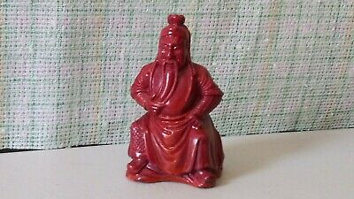 """Chinese Red Resin Figure Statue Figurine Wise Man ~ 2-1/2"""" Tall"""