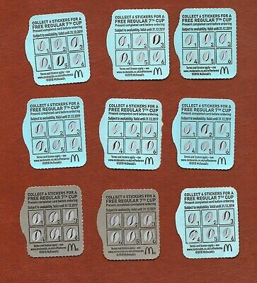 9 McDonalds Fully Completed Loyalty Cards (McCafe Tea Coffee Hot Drink Voucher)