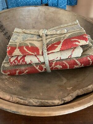 3 Large Pcs Early Red Green Coverlet Stack Runner Bed Textiles Christmas Colors
