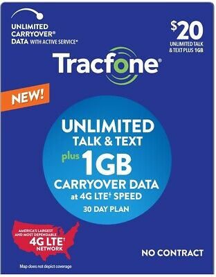 Prepaid Tracfone SIM Card+$20 plan text/talk/1GB carryover NEW ACTIVATION ONLY