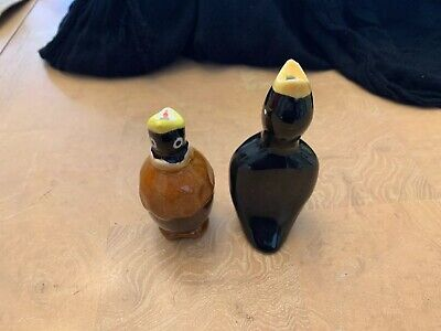Vintage Pie Bird Air Vent Ceramic Porcelain Brown Black Yellow Set Of 2!