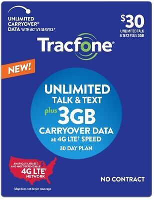 Prepaid Tracfone SIM Card+$30 plan text/talk/3GB carryover NEW ACTIVATION ONLY