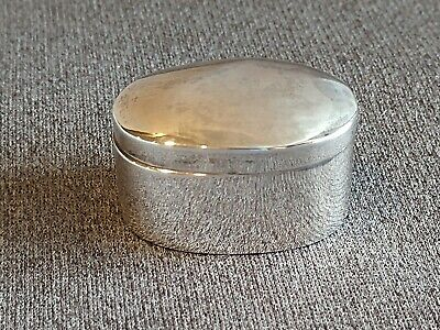 Antique Pill Snuff Trinket Box 925 Taxco Sterling Silver Hinged Oval Box