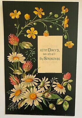 """Victorian Reward of Merit Floral Card Surrounds Phrase On Strength. 4 1/2"""" X 7"""""""