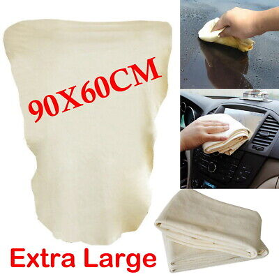 Large Natural Chamois Leather Car Cleaning Cloth Absorbent Washing Drying Towel