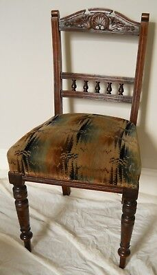 Victorian Mahogany Dining Chair,Carved,Turned Legs,Rare Original Velvet Seat.
