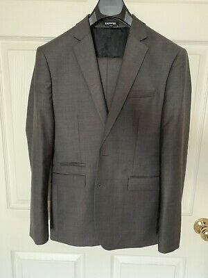 EXPRESS SLIM CHARCOAL WOOL-BLEND STRETCH SUIT 36S And 29x30 PANTS