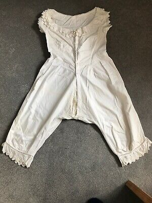 Early 1900's Combination Cotton Chemise And Bloomers With Open Crotch
