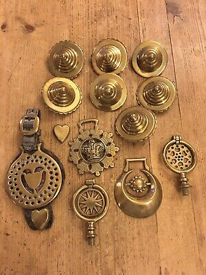 Small Collection Of 13 Antique Horse Brasses Part Leather Horse Brass