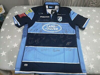 New Cardiff Blues 2018 - 2019 Rugby Shirt Signed By The Quad Xl Proceeds To Mnd