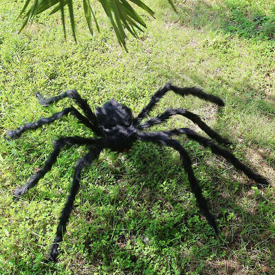 200CM/6.6FT Plush Giant Spider Decoration Halloween Props House Garden Haun Y0L6