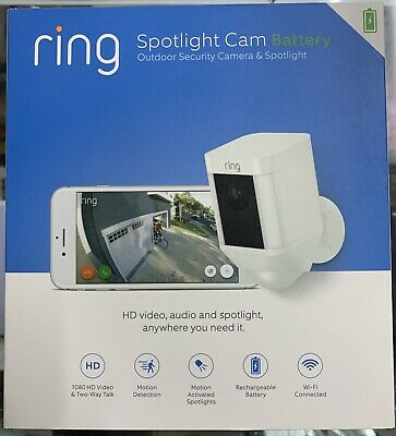 Ring Spotlight Cam Battery White Outdoor Security Camera - NEW Factory Sealed