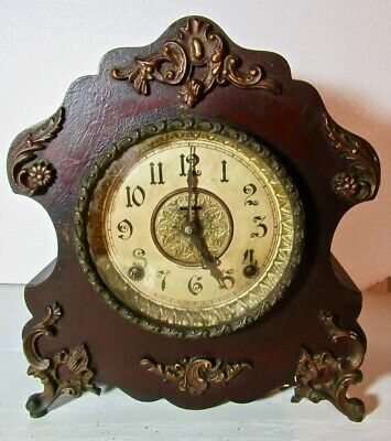 Antique E. Ingraham Shelf/Mantle 8-Day Clock w/Chimes - Runs Great.