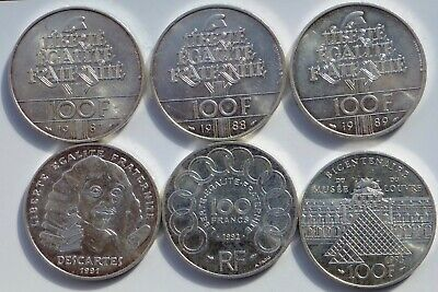 France 100 Francs X 6 1987 - 1993     Silver Coins