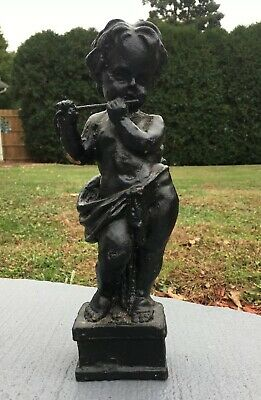 Antique Solid Cast Iron Cherub Violin Flutist Statue Small 11 1/2""