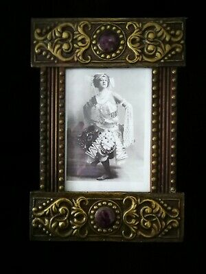 Very Beautiful Original Arts And Crafts, Nouveau , Brass On Wood Photo Frame