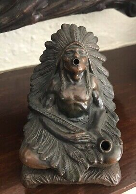 Antique Native American Indian Chief Sculpture Peace Pipe Bronze Patina Incense
