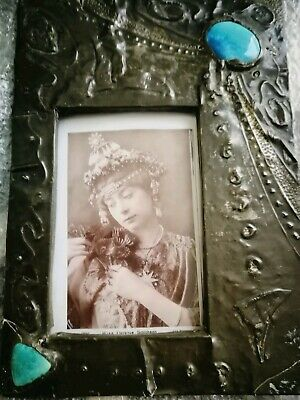 Gorgeous Original Arts And Crafts, Nouveau , Pewter On Wood Photo Frame