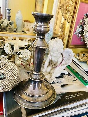 """NICE Antique Sheffield English Single Candlestick, Silver Over Copper 8"""" Tall"""
