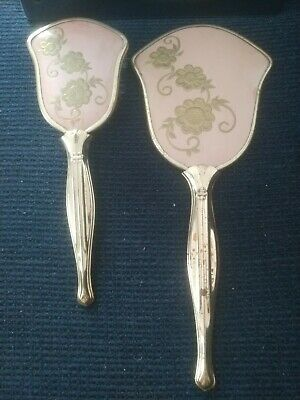 Vintage Made in USA Large Gold Tone Vanity Brush and Hand Held Mirror Set