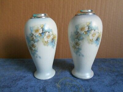 Two Art Nouveau Vases With Silver Collars Hallmark 1913