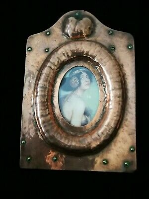 Exquisite Original Arts And Crafts, Nouveau , Copper On Wood Photo Frame
