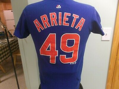 Chicago Cubs Jake Arrieta Jersey T-Shirt Small Majestic