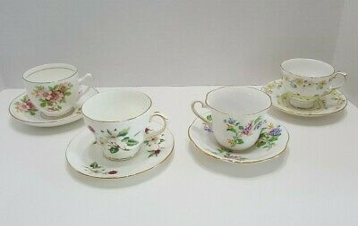 Vintage Floral Tea Cups and Saucers Bone China Made in England