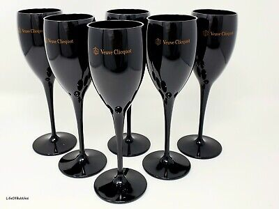 Veuve Clicquot Black Champagne Acrylic Party Flute Goblets New x 6