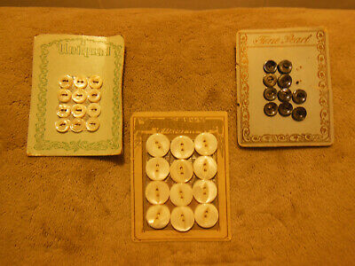Lot Of Antique Vintage Mother Of Pearl Mop Shell Buttons On 3 Cards