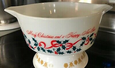 Vintage RARE PYREX BOWL MERRY CHRISTMAS HAPPY NEW YEAR HOLIDAY MINT NR