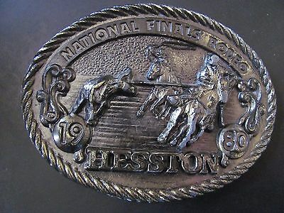 1980 Hesston NFR Belt Buckle Rodeo Adult Size Brass Tone