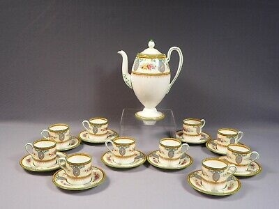 Vintage Wedgwood Sheerness Coffee Cacao set Pot Demitasse Cup Saucer Blue Cameo