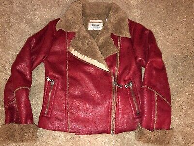 RUUM Girls Faux Suede Leather Moto Style Jacket Zipper Front, size XS 5 - 6