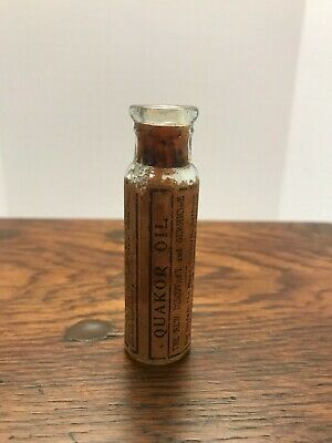 "Vintage Pharmacy Bottle - ""Quakor Oil"" quack remedy apothocary drug store"