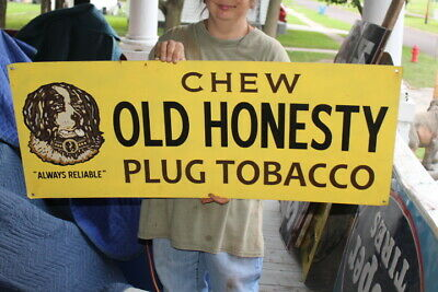 "Large Vintage 1940s Chew Old Honesty Chewing Plug Tobacco Gas Oil 40"" Metal Sign"