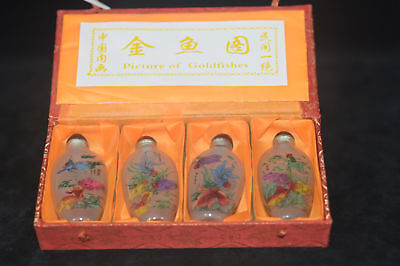 "4pc EXQUISITE HAND folk Inside painting ""Kim fish Figure"" glass snuff bottle"