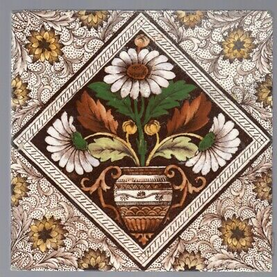 Decorative Art Tile Co. - c1890 - English Daisies - Aesthetic Movement Tile