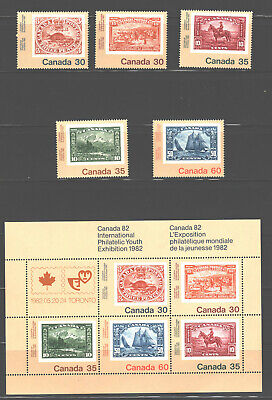 CANADA 1982; #909-13; Famous canadian stamp on stamp; Mint; NH; VF + Souv. Sheet