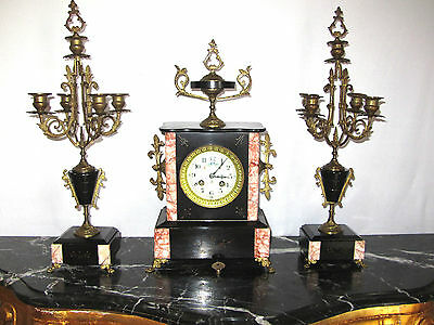 Antique French Messing-Marmor Watch, Fireplace Clock and Two Candle Holder