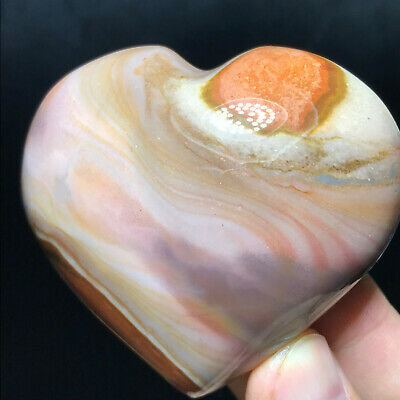 Top NATURAL POLISHED POLYCHROME JASPER HEART From Madagascar 153g 67mm A10543