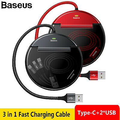 BaseusDual USB+Type-C Car Charger Dock Station Kit 8 Pin 3 in 1 Fast Charging