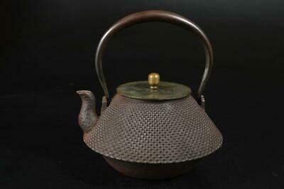 U6900: Japan XF Old Iron Arare pattern TEA KETTLE Teapot Tetsubin Tea Ceremony