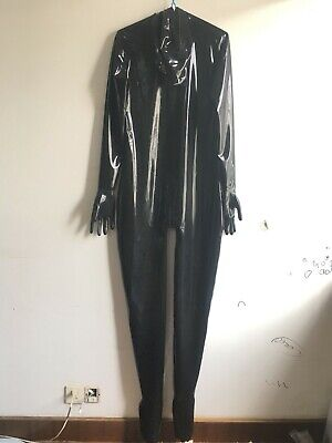 Gummi Latex Rubber Schwarz Catsuit Sexy Party Rivet Overall Bodysuit XXL 0.4mm