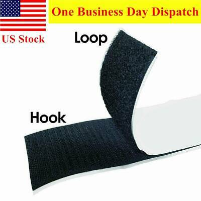 2'' Self Adhesive Hook and Loop Tape Fastener Black Sticky Back 5.5 Yards 2 Roll