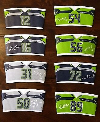SEATTLE SEAHAWKS 2017 New Set of 8 STARBUCKS COFFEE CUP SLEEVES NFL 12th Man