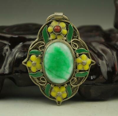 Chinese handwork tibet-silver inlay old green jade Cloisonne Flower Pendant b01