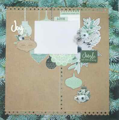 "Handmade Mixed Media 12"" x 12"" Scrapbook Page - Jingle all the Way!"